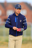 Isaiah Salinda (USA) on the 2nd tee during the Foursomes at the Walker Cup, Royal Liverpool Golf CLub, Hoylake, Cheshire, England. 07/09/2019.<br /> Picture Thos Caffrey / Golffile.ie<br /> <br /> All photo usage must carry mandatory copyright credit (© Golffile | Thos Caffrey)