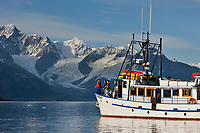 M/V Discovery in Harriman Fjord, Chugach mountains, Chugach National Forest, Prince William Sound, southcentral, Alaska