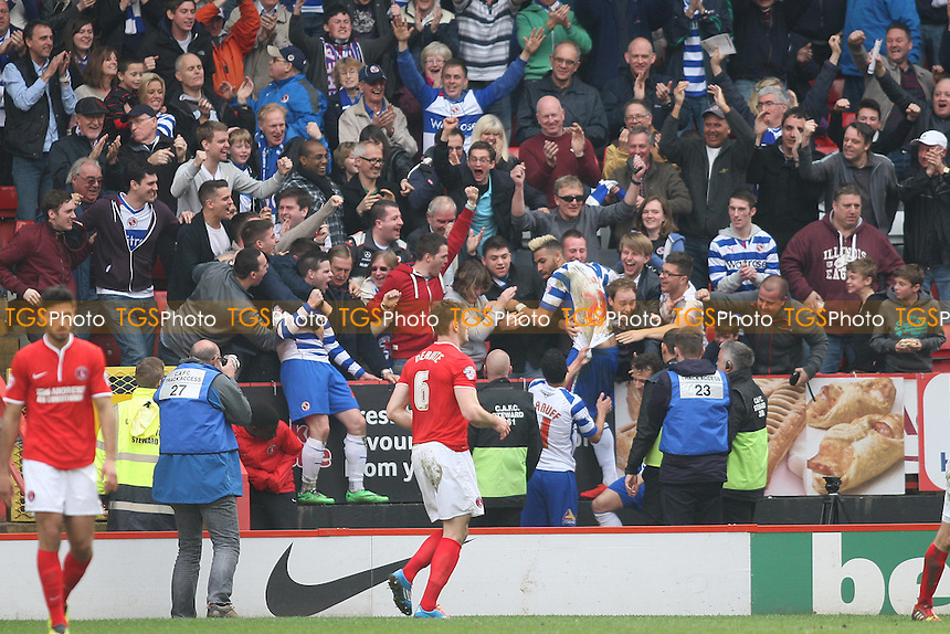 Reading suppoerters celebrates with winning goal scorer Daniel Williams  - Charlton Athletic vs Reading - Sky Bet Championship Football at the Valley, London - 05/04/14 - MANDATORY CREDIT: George Phillipou/TGSPHOTO - Self billing applies where appropriate - 0845 094 6026 - contact@tgsphoto.co.uk - NO UNPAID USE