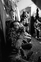 Pix:Michael Steele/SWpix...Huddersfield Rugby League dressing room. Rugby League. From the book 'When Push Comes to Shove'...COPYRIGHT PICTURE>>SIMON WILKINSON..Huddersfield Rugby League dressing room..
