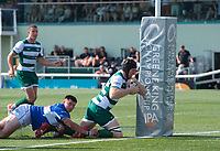 Ben West of Ealing Trailfinders scores a try during the 2019/20 Pre Season Friendly match between Ealing Trailfinders and Bishop's Stortford at Castle Bar , West Ealing , England  on 24 August 2019. Photo by Alan  Stanford / PRiME Media images
