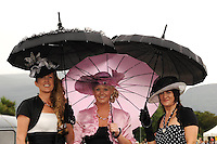 KILLARNEY RACES THURSDAY 16-7-09: Pictured at the Dawn Dairies Queen of Fashion Day at Killarney races on Thursday were from left, Tara tangney, Killorglin, Geraldine Ahern, Killorglin and Catherine Moriarty, Killorglin.<br /> Picture by Don MacMonagle