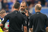 Wolves manager Nuno Espírito Santo talks to Referee Andre Marriner at full time  during the Premier League match between Leicester City and Wolverhampton Wanderers at the King Power Stadium, Leicester, England on 10 August 2019. Photo by Andy Rowland.