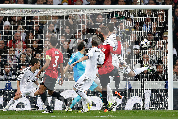 Real Madrid's Angel Di Maria, Diego Lopez, Cristiano Ronaldo and Fabio Coentrao and Manchester United's Danny Welbeck and Patrice Evra during Champions League 2012/2013 match.February 12,2013. (ALTERPHOTOS/Alfaqui/Cesar Cebolla)