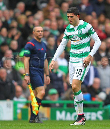 02.04.2016. Celtic Park, Glasgow, Scotland. Scottish Football Premiership Celtic versus Hearts. Tom Rogic with a massive lump on the side of his forehead from a head clash
