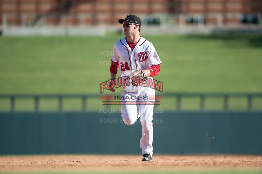 Salt River Rafters second baseman Carter Kieboom (24), of the Washington Nationals organization, during an Arizona Fall League game against the Glendale Desert Dogs at Salt River Fields at Talking Stick on October 31, 2018 in Scottsdale, Arizona. Glendale defeated Salt River 12-6 in extra innings. (Zachary Lucy/Four Seam Images)