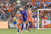 Houston, TX - Friday May 20, 2016: Orlando Pride midfielder Kaylyn Kyle (6) goes up for a header with Houston Dash midfielder Morgan Brian (6) during a regular season National Women's Soccer League (NWSL) match at BBVA Compass Stadium.