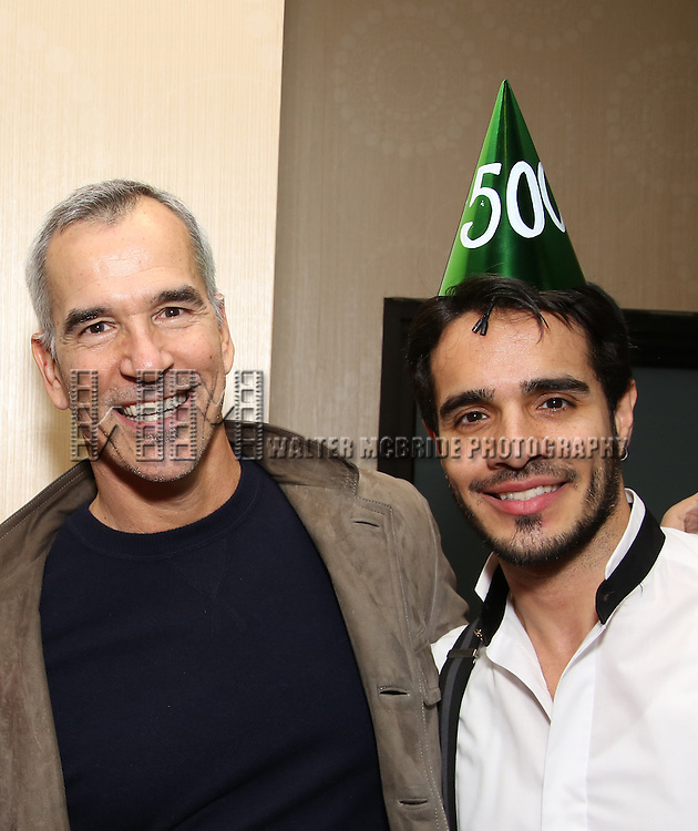 Director Jerry Mitchell and Ektor Rivera of the Broadway production of 'On Your Feet!' celebrate their 500th performance at Marquis Hotel  on January 18, 2017 in New York City.