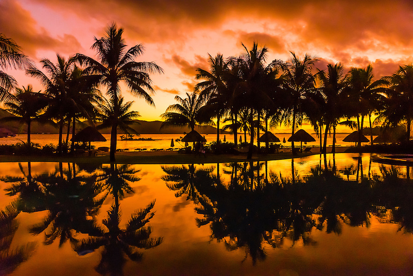 Reflection of palm trees into swimming pool, Four Seasons Resort Bora Bora on Motu Tehotu, Bora Bora, Society Islands, French Polynesia.