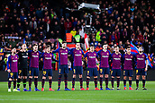 30th January 2019, Camp Nou, Barcelona, Spain; Copa del Rey football, quarter final, second leg, Barcelona versus Sevilla; FC Barcelona team during a minute of silence before the match