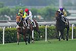 HONG KONG - MAY 04:  (L) Joao Moreira of Portugal rides Bullish Smart during the Wan Chai Plate at Sha Tin racecourse on May 4, 2014 in Hong Kong, Hong Kong.  Photo by Aitor Alcalde / Power Sport Images