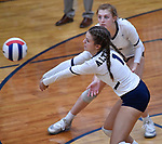 Althoff's Katie Wemhoener returns a Columbia serve in the second game, as teammate Mia Orlet watches.  Althoff defeated Columbia in two games in volleyball action on Thursday August 23, 2018.<br /> Tim Vizer/Special to STLhighschoolsports.com