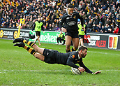 January 7th 2018, Ricoh Arena, Coventry, England;  Aviva Premiership rugby, Wasps versus Saracens; Willie Le Roux try for Wasps in the 38th minute of the Aviva Premiership (Round 13) match between Wasps and Saracens rfc at the Ricoh Stadium