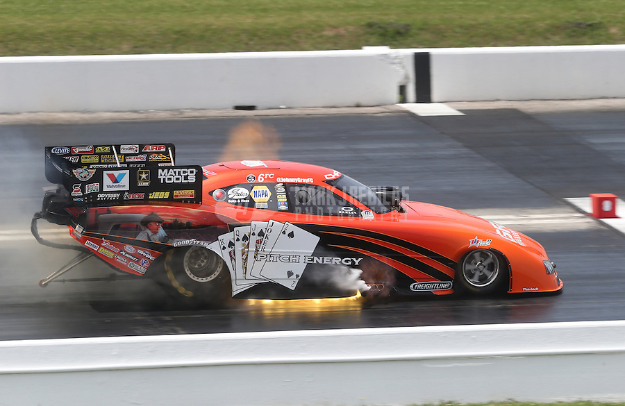 Apr. 28, 2013; Baytown, TX, USA: NHRA funny car driver Johnny Gray blows an engine during the Spring Nationals at Royal Purple Raceway. Mandatory Credit: Mark J. Rebilas-
