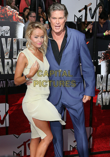 13 April 2014 - Los Angeles, California - David Hasselhoff, Hayley Roberts. 2014 MTV Movie Awards held at Nokia Theatre L.A. Live. <br /> CAP/ADM<br /> &copy;AdMedia/Capital Pictures