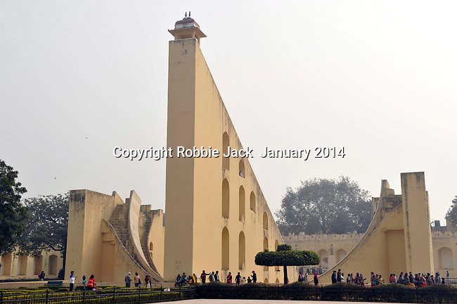 Jantar Mantar in Jaipur is a collection of architectural astronomical instruments built by Jai Singh II between 1728 and 1734.Brihat Samrat Yantra has a 75 foot high gnomon set at an angle of 27 degrees. It is the biggest sun dial in the world,accurate to about 2 seconds local time, it is still in use by astrologers to aid in the prediction of the monsoon rains, and subsequent success or failure of crops.