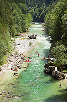 Austria, Styria, Palfau: adventure at SalzaArena - whitewater kayaking on river Salza | Oesterreich, Steiermark, Palfau: Abenteuer in der SalzaArena - Wildwasser-Kajakfahrt auf der Salza