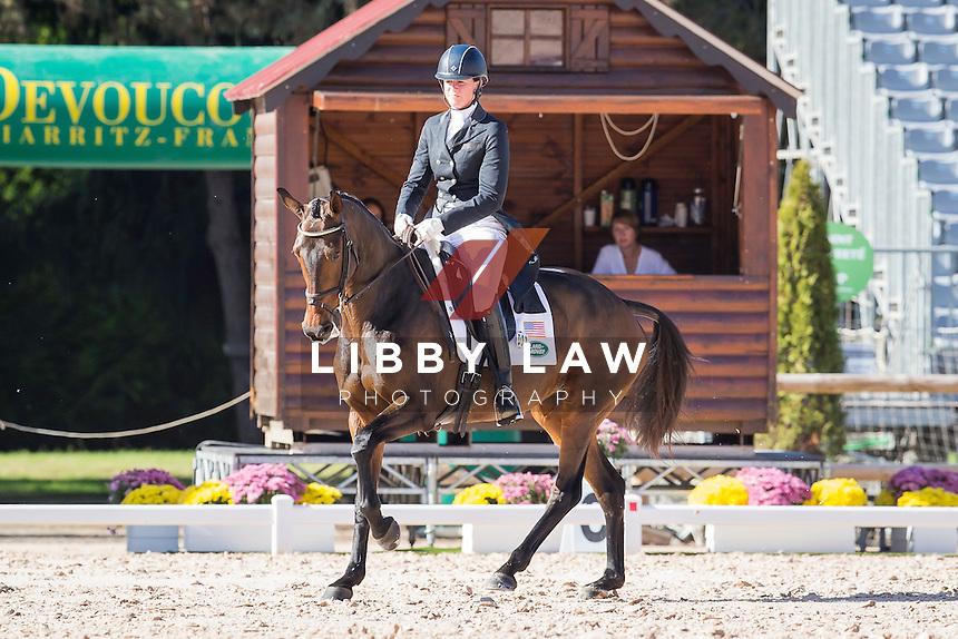 USA-Lauren Kieffer (VERONICA) INTERIM-4TH: CCI4* DAY ONE OF DRESSAGE: 2014 FRA-Les Etoiles de Pau (Thursday 23 October) CREDIT: Libby Law COPYRIGHT: LIBBY LAW PHOTOGRAPHY - NZL