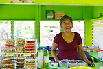 Jan Brockman works 3 days a week at Julia's Banana Nut Bread Stand, Kahakuloa, Maui, Hawaii