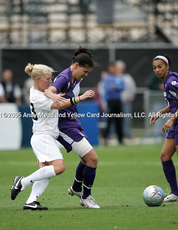 2 December 2005: PSU's Zoe Bouchelle (l) guards Portland's Christine Sinclair. The University of Portland Pilots defeated the Penn State Nittany Lions 4-3 on penalty kicks after the teams played to a 0-0 overtime tie in their NCAA Division I Women's College Cup semifinal at Aggie Soccer Stadium in College Station, TX.