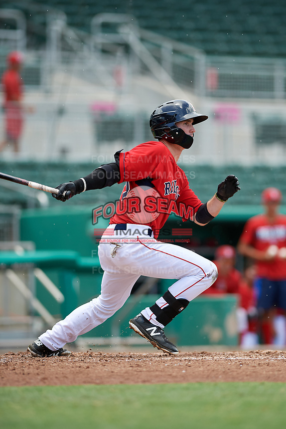 GCL Red Sox center fielder Caleb Ramsey (39) follows through on a swing during a game against the GCL Rays on August 1, 2018 at JetBlue Park in Fort Myers, Florida.  GCL Red Sox defeated GCL Rays 5-1 in a rain shortened game.  (Mike Janes/Four Seam Images)