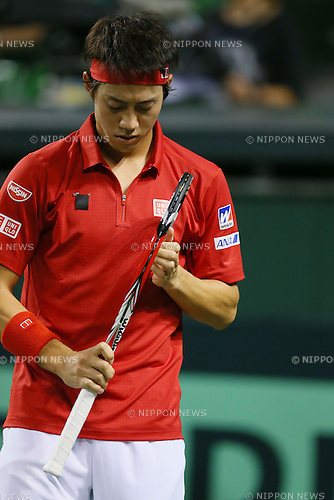 Kei Nishikori (JPN), SEPTEMBER 13, 2013 - Tennis : Davis Cup 2013 by BNP Paribas World Group Play-off first singles game, Japan 3-0 Columbia at Ariake Coliseum, Tokyo, Japan. (Photo by Yusuke Nakanishi/AFLO SPORT) [1090]