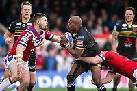 Picture by Alex Whitehead/SWpix.com - 12/03/2017 - Rugby League - Betfred Super League - Wakefield Trinity v Salford Red Devils - Beaumont Legal Stadium, Wakefield, England - Salford's Rob Lui is tackled by Wakefield's Liam Finn and Mitch Allgood.