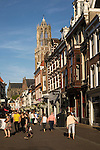 Historic buildings and famous fourteenth century Dom church tower in city of Utrecht, Netherlands