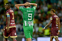 MEDELLIN - COLOMBIA, 24-11-2019: Hernan Barcos del Nacional lamenta perder una opción de gol durante partido por la fecha 5, cuadrangulares semifinales, de la Liga Águila II 2019 entre Atlético Nacional y Deportes Tolima jugado en el estadio Atanasio Girardot de la ciudad de Medellín. / Hernan Barcos of Nacional reacts after losing a goal opportunity  during match for the date 5, quadrangular semifinals, as part of Aguila League II 2019 between Atletico Nacional and Deportes Tolima played at Atanasio Girardot stadium in Medellín city. Photo: VizzorImage / Leon Monsalve / Cont