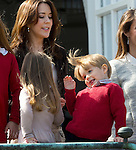 16-04-2014 Balcony 74th birthday of the Danish Queen at Marselisborg Castle in Aarhus.<br /> Princess Mary and Vincent and Princess Josephine.<br /><br /> <br /> Credit: PPE/face to face<br /> - No Rights for Netherlands -