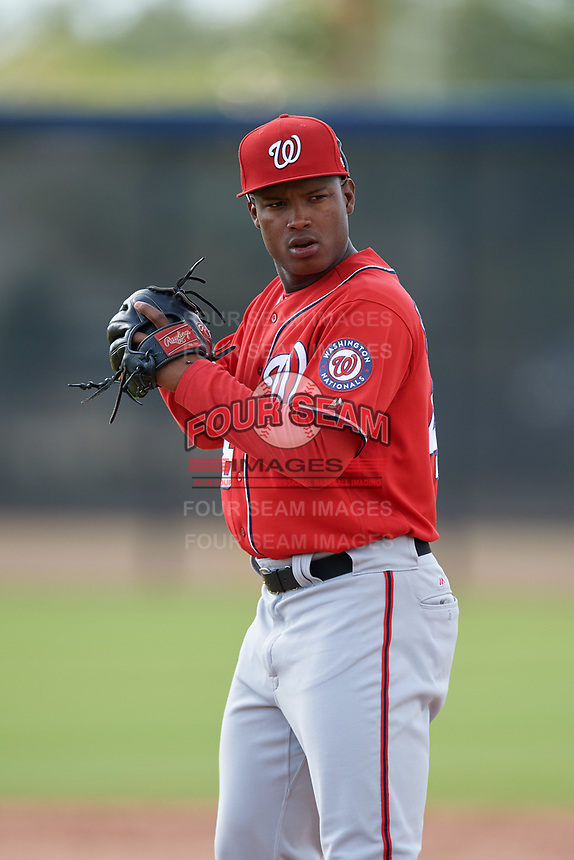 Washington Nationals pitcher Nector Ramirez (48) doing pitching drills before a Minor League Spring Training game against the Miami Marlins on March 28, 2018 at FITTEAM Ballpark of the Palm Beaches in West Palm Beach, Florida.  (Mike Janes/Four Seam Images)