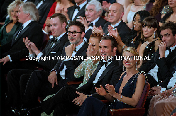 .JEAN DUJARDIN, BERENICE BEJO and MICHEL HAZANAVICIUS..Show surprise at winning OSCAR at the 84th Academy Awards held at Kodak Theatre, Hollywood & Highland Center®, Los Angeles, February 26, 2012,.MANDATORY PHOTO CREDIT: ©Ampas/NEWSPIX INTERNATIONAL..(Failure to by-line the photograph will result in an additional 100% reproduction fee surcharge. You must agree not to alter the images or change their original content)..            *** ALL FEES PAYABLE TO: NEWSPIX INTERNATIONAL ***..IMMEDIATE CONFIRMATION OF USAGE REQUIRED:Tel:+441279 324672..Newspix International, 31 Chinnery Hill, Bishop's Stortford, ENGLAND CM23 3PS.Tel: +441279 324672.Fax: +441279 656877.Mobile: +447775681153.e-mail: info@newspixinternational.co.uk