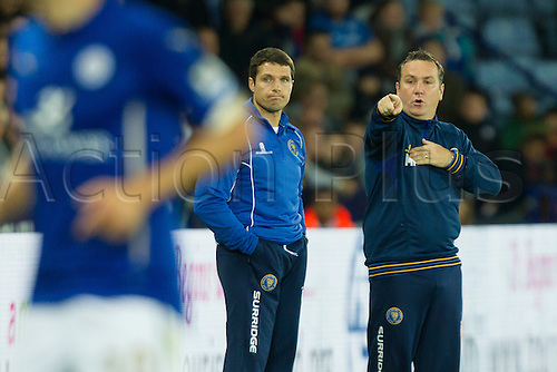 26.08.2014.  Leicester, England. Capital One Cup 2nd Round. Leicester City versus Shrewsbury Town. Shrewsbury Town manager Micky Mellon issues instructions to his team.
