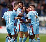 04.08.18 St Mirren v Dundee: Elton Ngwatala celebrates with Sofien Moussa and Jean Mendy