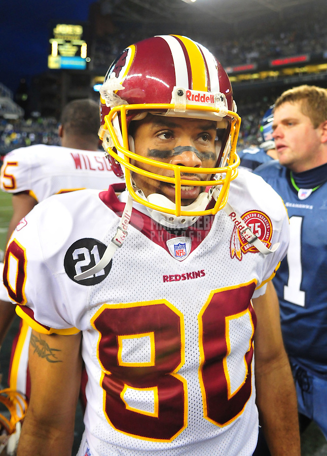Jan. 5, 2008; Seattle, WA, USA; Washington Redskins wide receiver Keenan McCardell (80) against the Seattle Seahawks during the NFC wild card game at Qwest Field. Seattle defeated Washington 35-14. Mandatory Credit: Mark J. Rebilas-US PRESSWIRE