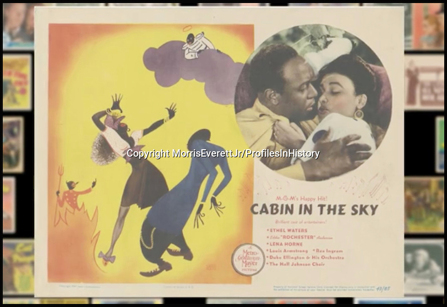 BNPS.co.uk (01202 558833)<br /> PIc: MorrisEverettJr/ProfilesInHistory/BNPS<br /> <br /> ***Please Use Full Byline***<br /> <br /> Cabin in the Sky (1943). <br /> <br /> The world's largest collection of movie posters boasting artwork from almost every single film made in the last century has emerged for sale for &pound;5 million.<br /> <br /> The colossal archive features 196,000 posters from more than 44,000 films, and has been singlehandedly pieced together by one avid collector over the last 50 years.<br /> <br /> Morris Everett Jr has dedicated his life's work to seeking out original posters from every English-speaking film ever made and compiling them into a comprehensive library.<br /> <br /> The sale is tipped to make $8 million - around &pound;5 million pounds - when it goes under the hammer in one lot at Califonia saleroom Profiles in History on December 17.