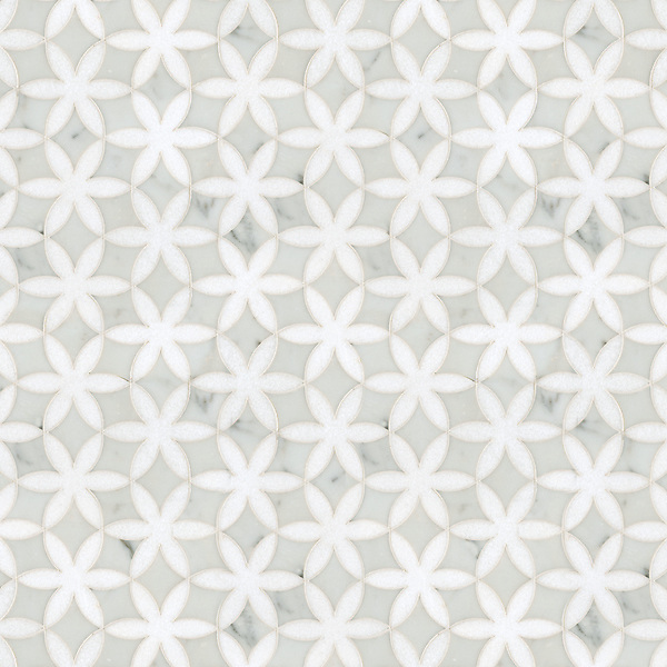 Fiona, a waterjet stone mosaic, shown in Cararra and polished Thassos, is part of the Silk Road Collection by Sara Baldwin for New Ravenna Mosaics. <br />