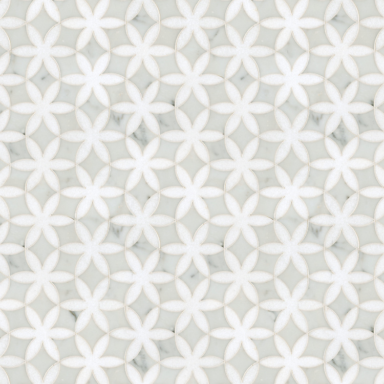 Fiona, a waterjet stone mosaic, shown in Cararra and polished Thassos, is part of the Silk Road® collection by New Ravenna.