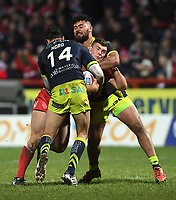 Picture by Anna Gowthorpe/SWpix.com - 02/02/2018 - Rugby League - Betfred Super League - Hull KR v Wakefield Trinity - KC Lightstream Stadium, Hull, England - Hull KR's Robbie Mulhern is tackled by Wakefield Trinity's Justin Horo and David Fifita