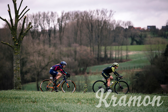 Elena Amialiusik (BLR/Canyon Sram Racing) and  Grace Brown (AUS/Mitchelton Scott)<br /> <br /> 12th Women's Omloop Het Nieuwsblad 2020 (BEL)<br /> Women's Elite Race <br /> Gent – Ninove: 123km<br /> <br /> ©kramon