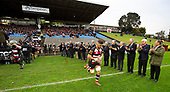 Sam Henwood leads the current Counties Manukau team out past members of the Championship winning side from 1979. Mitre 10 Cup rugby game between Counties Manukau Steelers and Taranaki Bulls, played at Navigation Homes Stadium, Pukekohe on Saturday August 10th 2019. Taranaki won the game 34 - 29 after leading 29 - 19 at halftime.<br /> Photo by Richard Spranger.