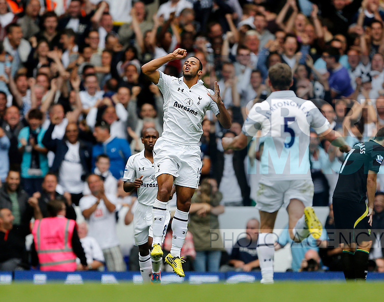 Football - Tottenham Hotspur v Norwich - Barclays Premier League - White Hart Lane - Season 12/13 - 1/9/12 ..Tottenhams Mousa Dembele celebrates scoring his sides opening goal..Mandatory Credit: David Klein/Sportimage..EDITORIAL USE ONLY. No use with unauthorized audio, video, data, fixture lists, club/league logos or ?live? services. Online in-match use limited to 45 images, no video emulation. No use in betting, games or single club/league/player publications. Please contact your account representative for further details.