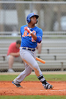 GCL Mets first baseman Dominic Smith (22) hits a home run during the first game of a double header against the GCL Cardinals on July 17, 2013 at Roger Dean Complex in Jupiter, Florida.  GCL Cardinals defeated the GCL Mets 6-5 in twelve innings.  (Mike Janes/Four Seam Images)