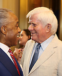 Al Sharpton and Phil Donahue attends the Broadway Opening Night Performance for 'Michael Moore on Broadway' at the Belasco Theatre on August 10, 2017 in New York City.