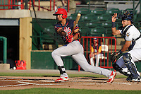 Peoria Chiefs Leobaldo Pina (4) swings during the Midwest League game against the Burlington Bees at Community Field on June 8, 2016 in Burlington, Iowa.  Burlington won 4-2.  (Dennis Hubbard/Four Seam Images)