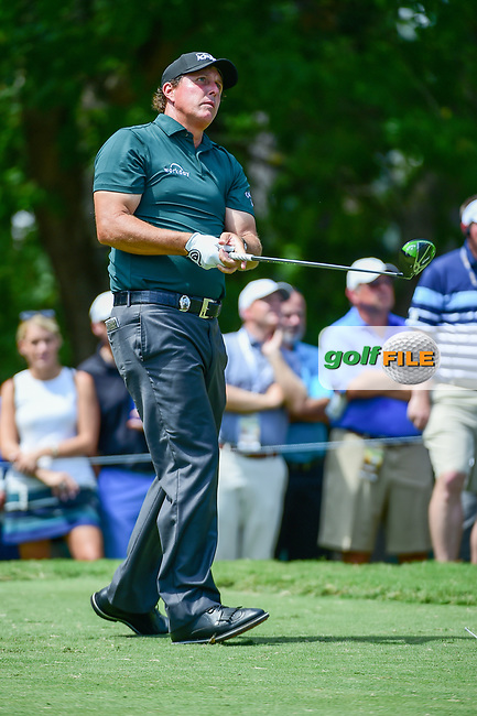 Phil Mickelson (USA) watches his tee shot on 5 during Thursday's round 1 of the PGA Championship at the Quail Hollow Club in Charlotte, North Carolina. 8/10/2017.<br /> Picture: Golffile | Ken Murray<br /> <br /> <br /> All photo usage must carry mandatory copyright credit (&copy; Golffile | Ken Murray)