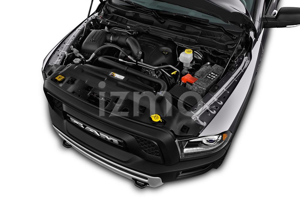 Car stock 2017 Ram 1500 Rebel Crew 4 Door Pick Up engine high angle detail view