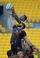 Vaea Fifita beats Ruben van Heerden to lineout ball during the Super Rugby match between the Hurricanes and Sharks at Sky Stadium in Wellington, New Zealand on Saturday, 15 February 2020. Photo: Dave Lintott / lintottphoto.co.nz