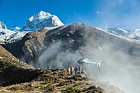 Helicopter landing in Panghboche village, Khumbu, Nepal