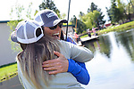 Holly Kuhlmann hugs Whitney Inmon during the Casting for Recovery fishing clinic at Bently Ranch in Gardnerville, Nev. May 4, 2018.<br /> Photo by Candice Vivien/Nevada Momentum